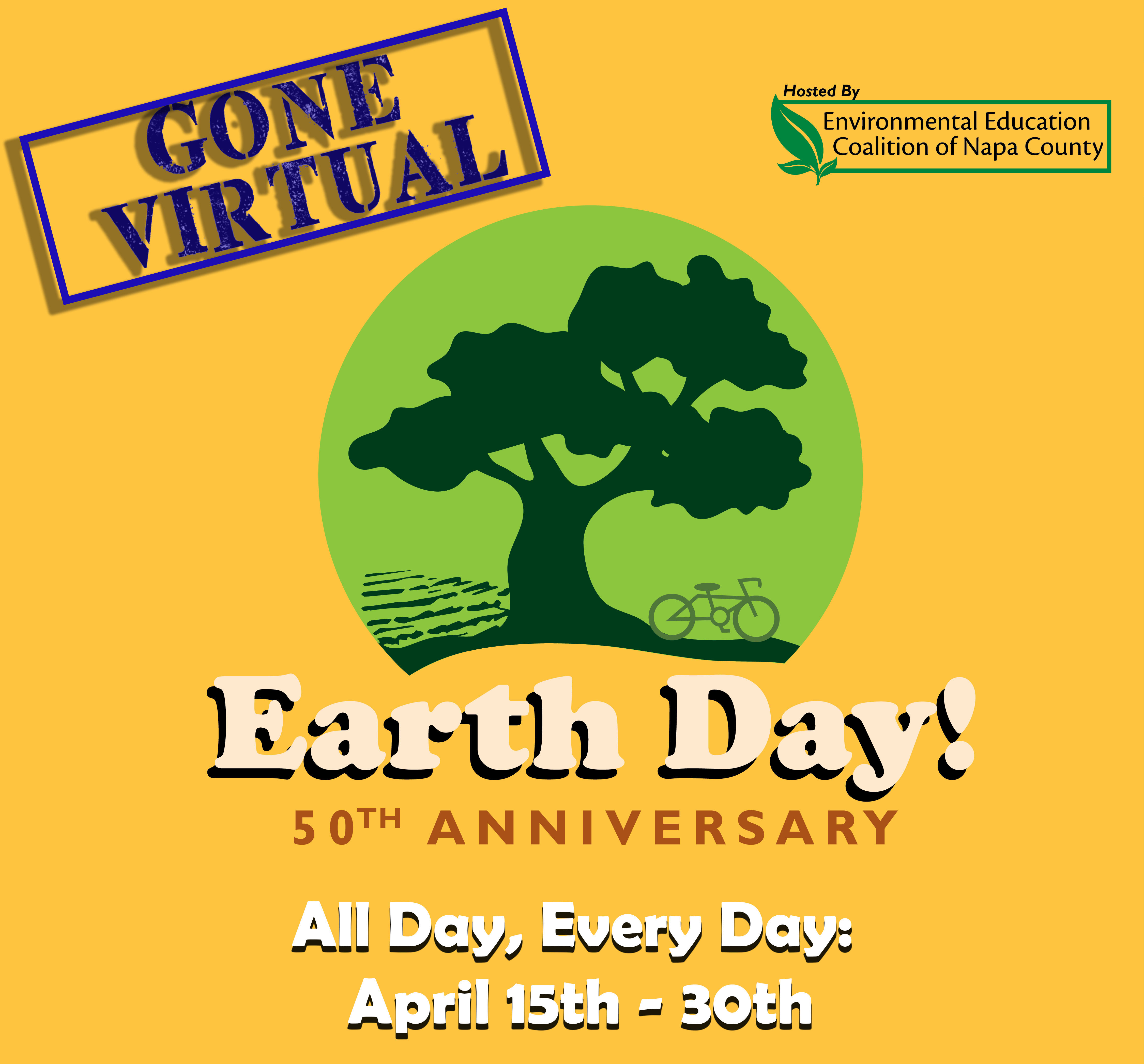 Earth Day Gone Virtual logo.  April 15th to the 30th