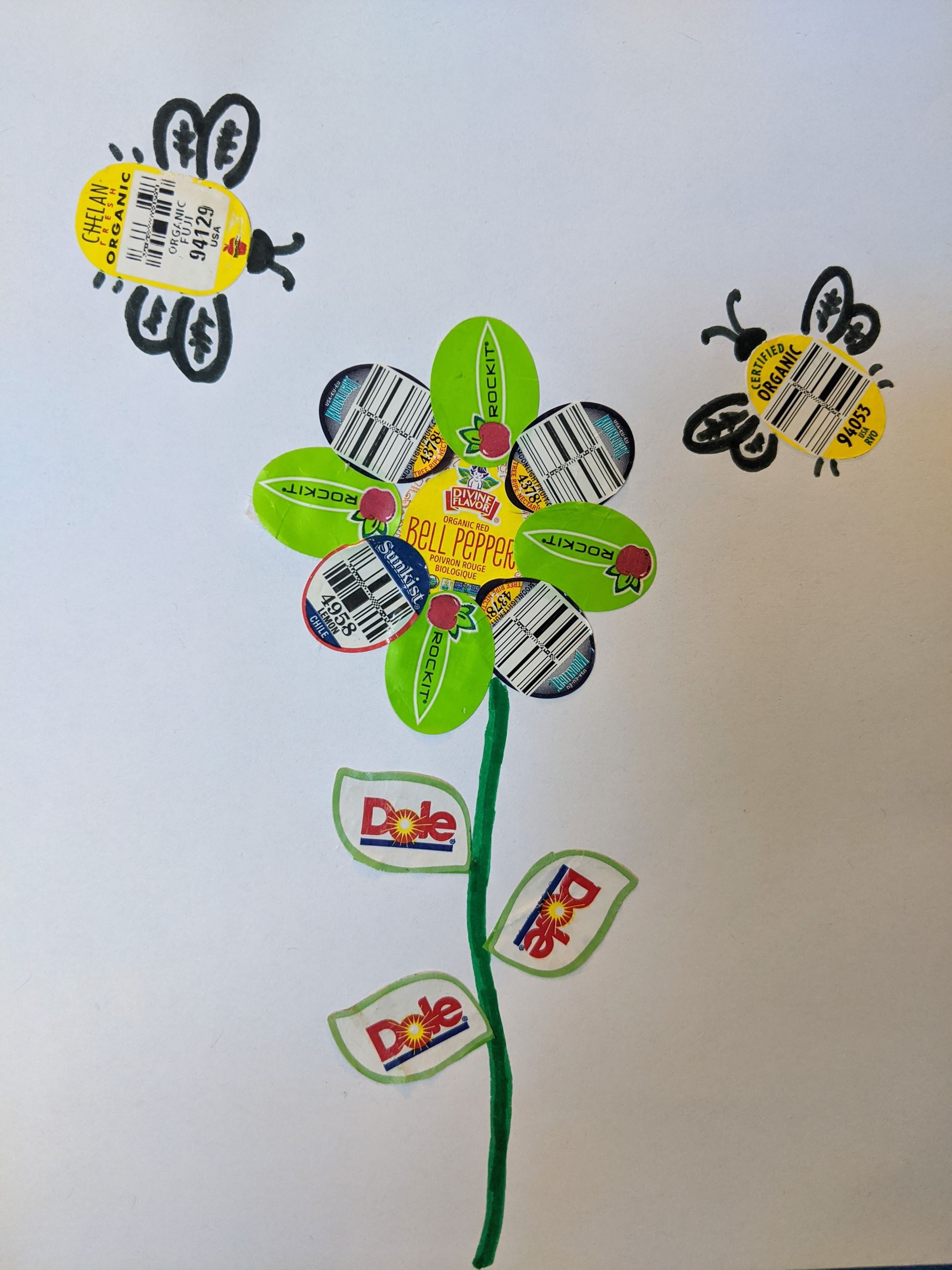 Bees and flower made out of produce stickers