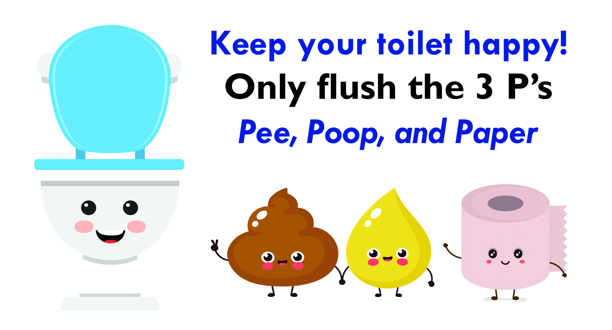 Keep your toilet happy by only flushing the 3 P's- pee, poop, and paper!